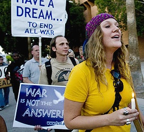Danielle Moore protesting the Iraq war at ASU in Tempe